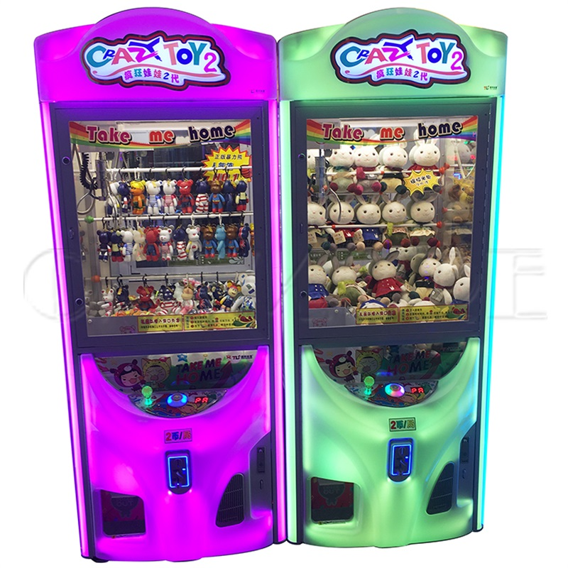 Hot sale amusement machine crazy toy 2 claw crane vending game machine with light