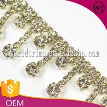 Hot sale latest crystal rhinestone applique beaded bridal trim for wedding dresses China manufacturer