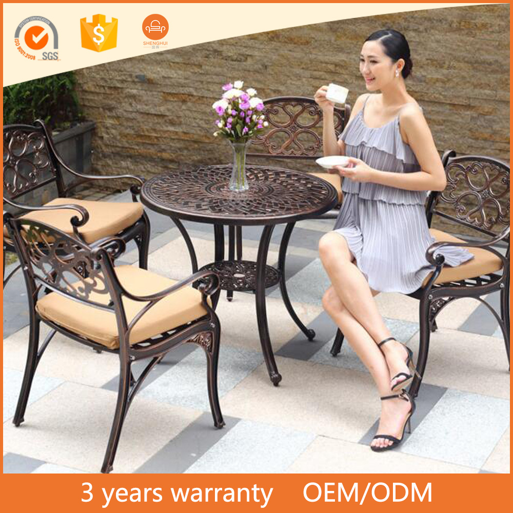 China Wholesale Outdoor Garden Set Table and Chairs 5pcs Stable Cast Aluminum Table Leg Italian Furniture