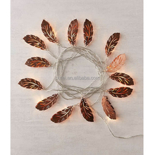 40Led Fairy Copper Metal Feather Battery Operated String Lights 5m LED Decoration For Christmas Garland On The Window New Year