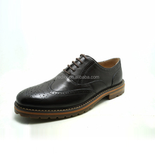 full brogue oxford style wood soft sole men classic leather dress shoes