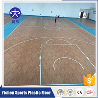 Yichen Wood pattern indoor PVC basketball flooring