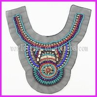 Embroidered blouse patch work designs/beads collar patch trimming WTA188
