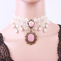 Fashion Western Gothic Style Lace Pink