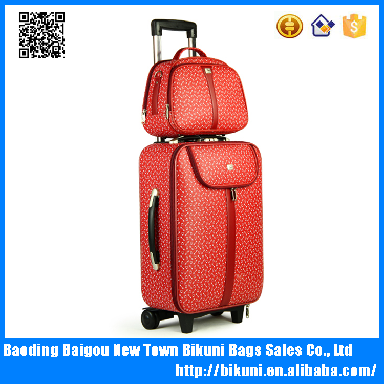 High quality imported waterproof PU travel case unisex universal wheel luggage trolley case with detached handbag made in China