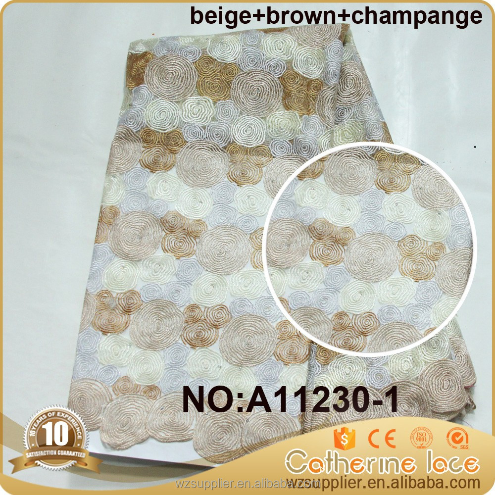 2016 tull mesh alibaba embroidery design champagne gold tulle lace fabric african french