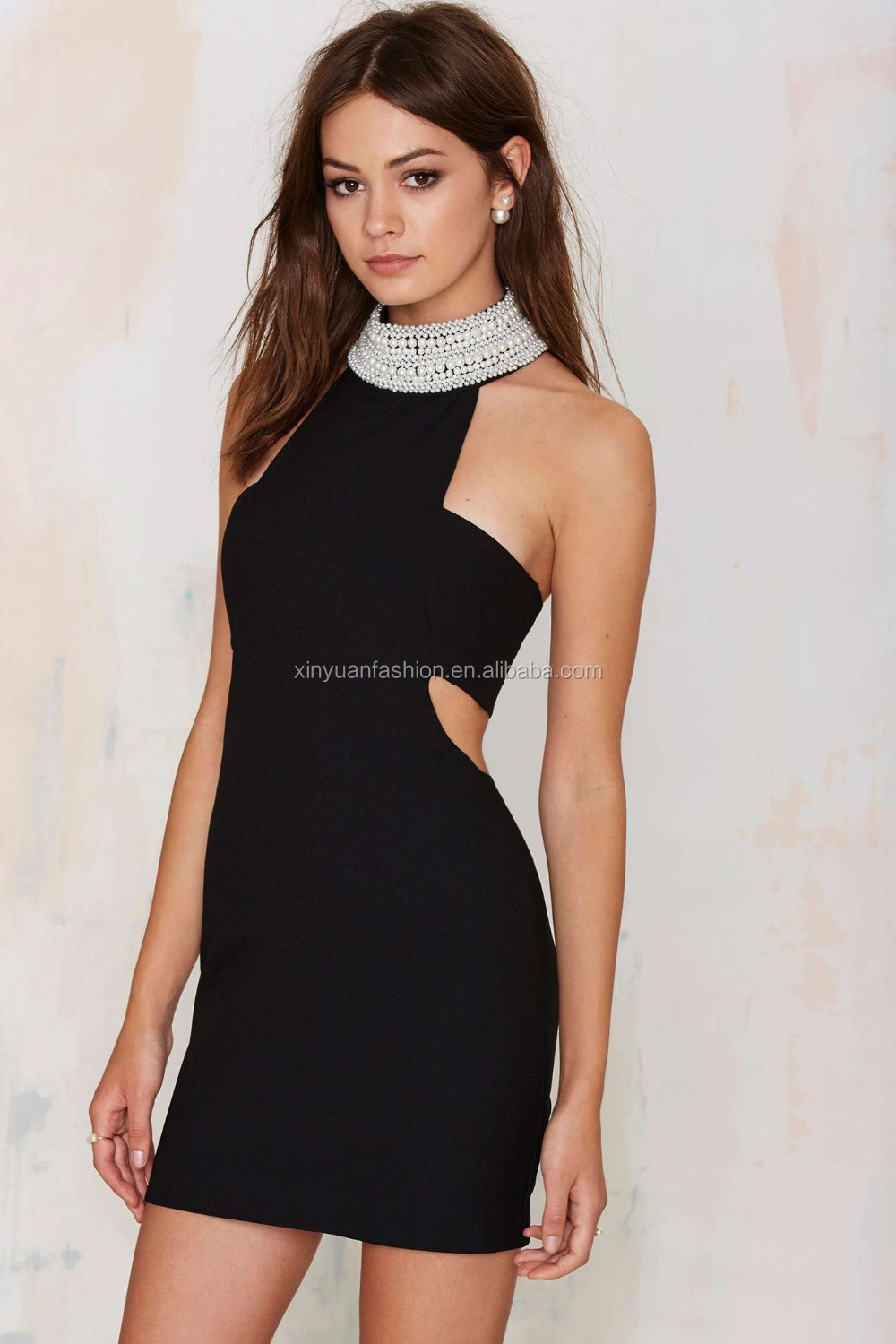 Super party dress sexy Ladies Off Shoulder O-Neck With Beading Neck Trim Party Dresses for Women