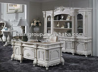 Palace style office desk set; High quality hand carved wooden office furniture,white color office furniture set (BG600055)
