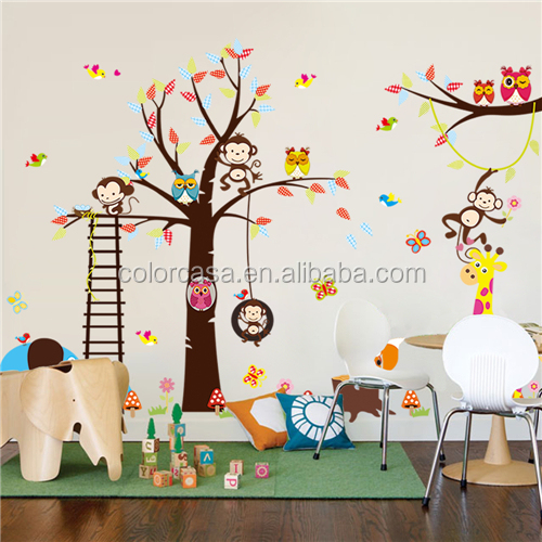 Colorcasa room wall stickers wall popular children gift wall sticker elephant and deer (ZY1213)