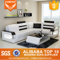 SUMENG White with Black small size I shaped sofa for small apartment