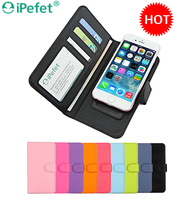 Universal Glossy Flip Leather Sliding Mobile Phone Case With Card Slots