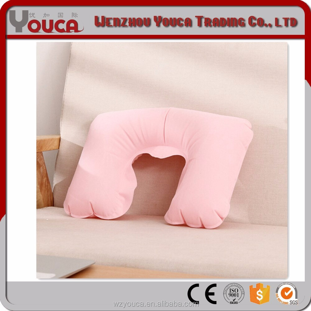 2017 27X44cm pink color Outdoor compressible pillow cushion camping inflatable travel neck pillow