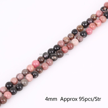 Wholesale 4mm Natural Black Stripes Rhodochrosite Stone Beads for DIY Bracelet Necklace Jewelry Making,yiwu