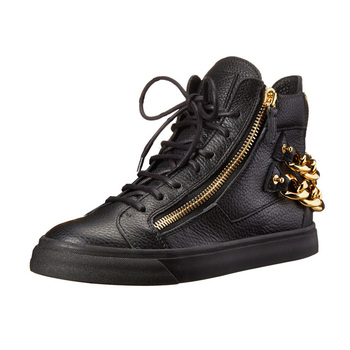 fashion private logo name brand black leather Gold zipper high ankle women sneaker shoe