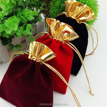 Golden Trim Drawstring Jewelry Pouches Velvet Gift Bags <strong>Wedding</strong> Favor black Red