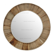 Countryside Style Handmade Antique Wooden round wall mirror