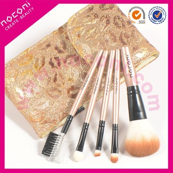 Noconi Custom Made Promotion Travel 5pcs Makeup Brushes Set with Lip Shaped Pattern Cosmetic Bag