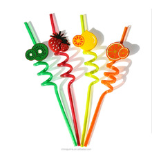 New design hard plastic drinking straw with soft PVC figurine