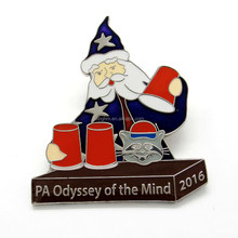 Customized 18mm~55mm metal soft enamel with epoxy Santa Claus badge