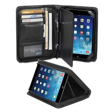 Black PU Leather Folio Stand Business Portfolio Case for iPad