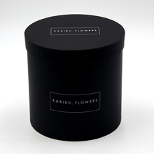luxury rose black round cylindrical paper flower packing box