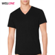 Blank no logo high quality basic style 95% cottotn 5% spandex custom black deep v neck t shirts for men