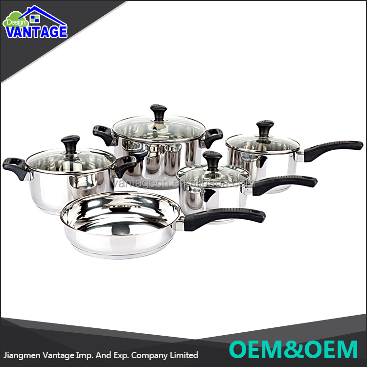 High quality 9pcs cookware sets casserole, saucepan, frypan stainless steel nonstick cookware