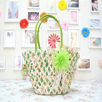 Manufacturers selling straw bags of corn straw bags mixed Chiffon cloth