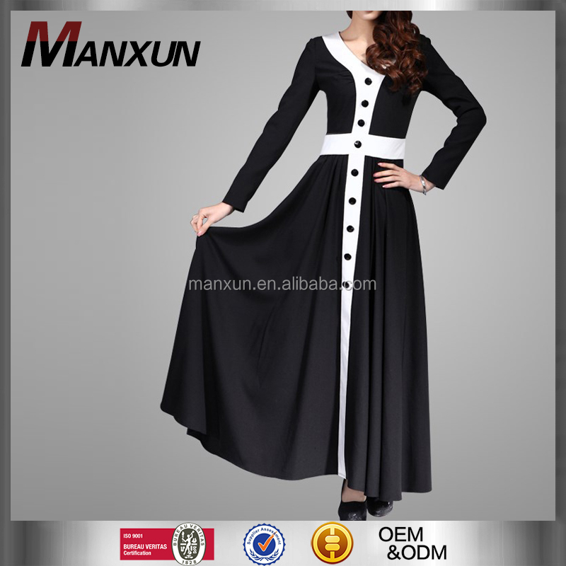 2016 Latest Morrocan Style IslaimcLong Maxi Dress Muslim Clothing Long Sleeves Black Dubai Abaya Models