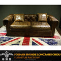 Vintage sofa with button sofa back designs/European style brown leather classic sofa A161
