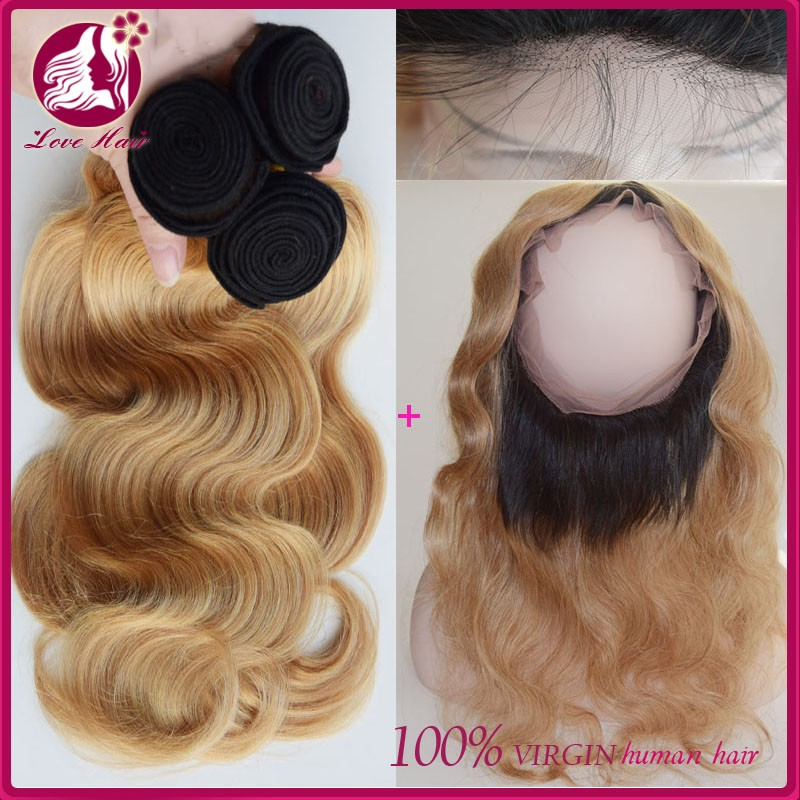 Two Tone 1B/613 Blonde Dark Root Ombre Body Wave Virgin Human Hair Bundles With Pre Plucked 360 Full Lace Band Frontal Closure