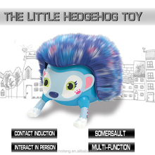 2017 new lovely hedgehog plush animal electronic toys, will be turning somersault.Will show MOE