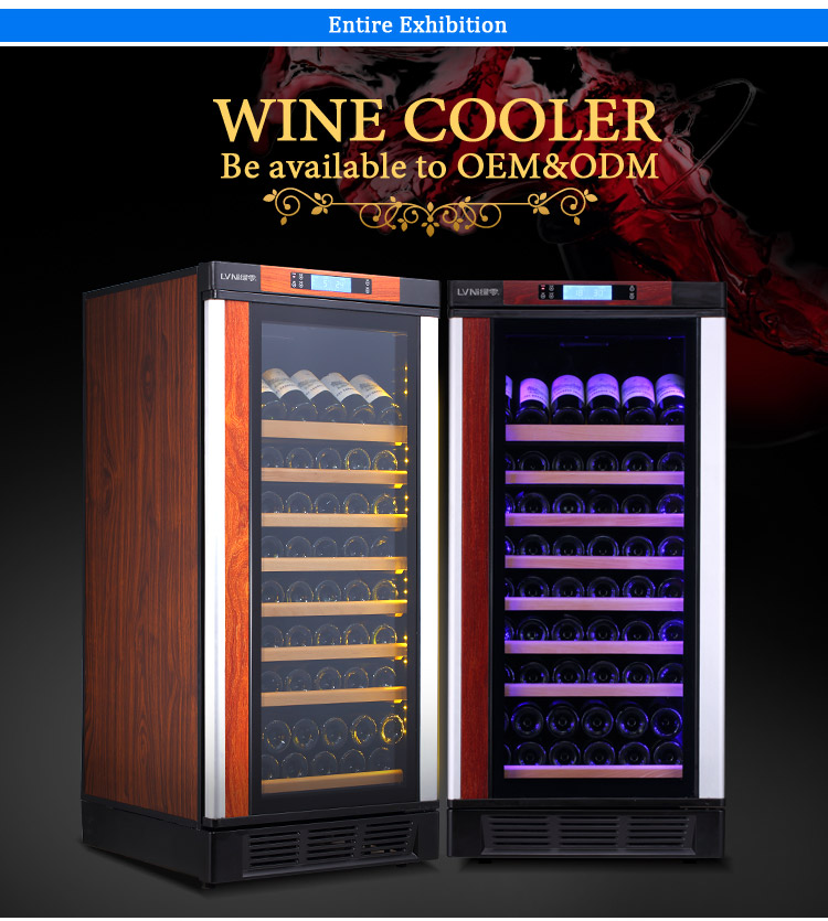 LVNI modern wooden shelves 80 bottles built-in beer wine fridge cellar