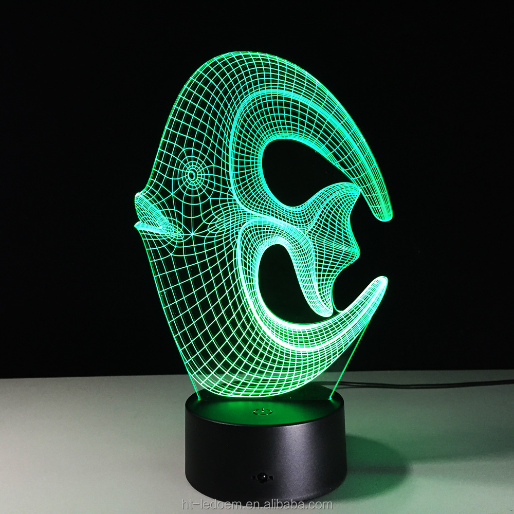 Creative 3D fish shape LED colorfull night light/LED desk lamp night light