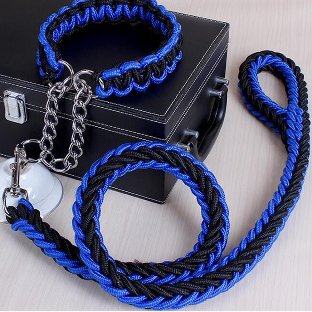Braided Large Dog Leash and Collar Set 15 Colors Dog Training Leads