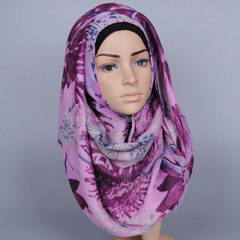Wholesale design cotton printed floral shawls headband muslim hijab long scarves/scarf GBS337