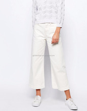 Hot Selling White Wide Leg Crop Jean High Rise Waist Non Stretch Denim Women Jeans For Sale