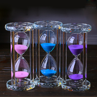Four Colors Elegant Crystal Sand Clock Glass Hourglass for Birthday Gifts
