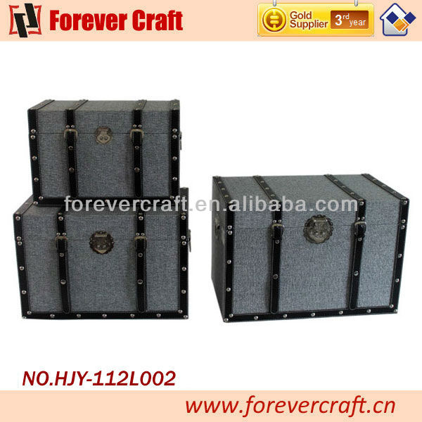 2013 New Design S/3 Antique Rectangle Wooden PU Leather Trunks Storage Box