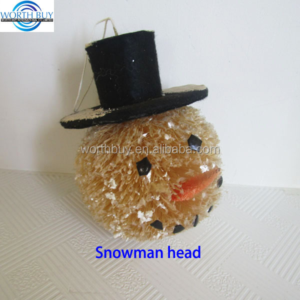 Christmas snowman head w/ a black hat