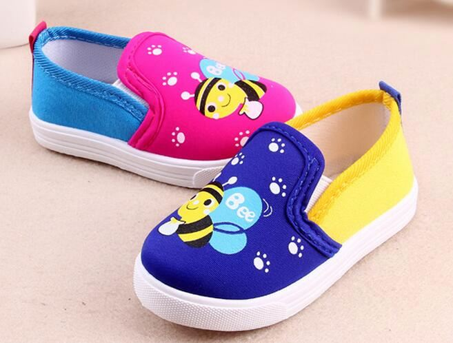 New children shoes baby boys girls shoes cartoon print bee kids canvas breathable shoes