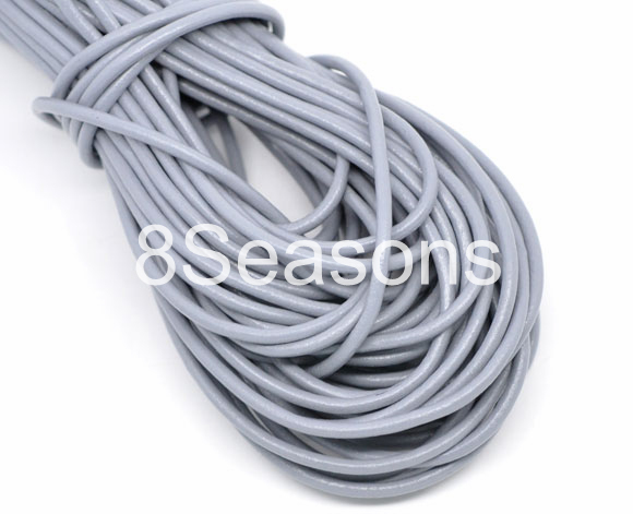 Gray Round Real Leather Jewelry Cord 2mm