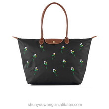 black foldable tote bags nylon foldable shopping bag