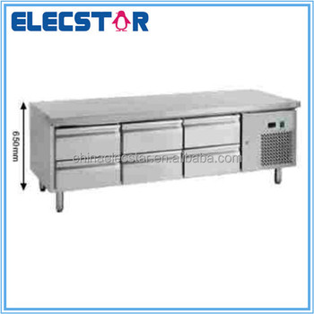 stainless steel chef base refrigeration counter, restaurant kitchen equipment, ventilated cooling, Embraco compressor
