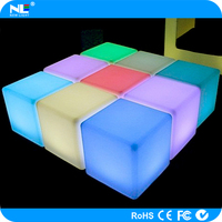 Outdoor LED cube furniture / clear magic LED glowing cube seat / waterproof LED cube table