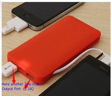 5000mAh 3 usb ports dc mobile phone battery charger with charging cable with high quality, CE. Rohs,FCC
