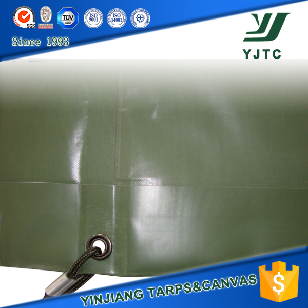 heavy duty 670gsm olive green pvc coated tarpaulin for military use