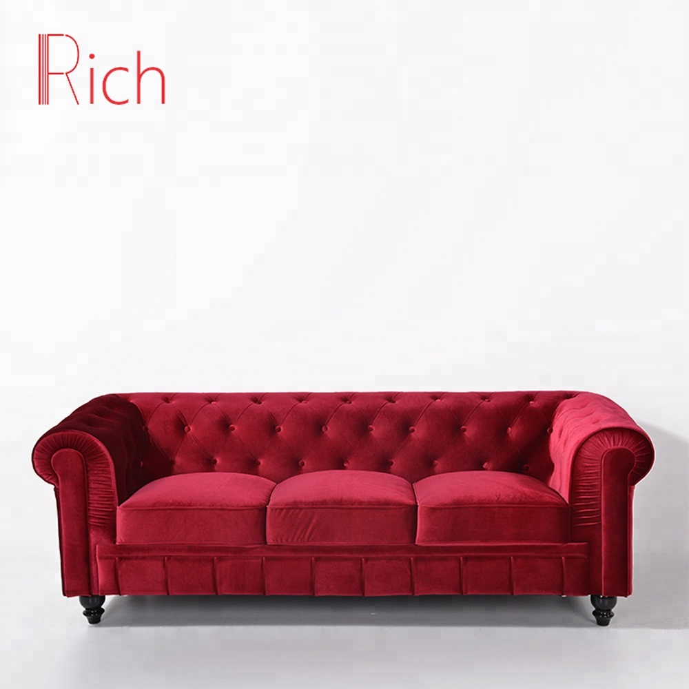 European Style Red Velvet Chesterfield Sofa Cover Furniture In China ...