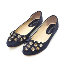 ladies pu low heeled designer wholesale diamond falt shoes hoA-15