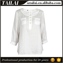Apparel supplier Latest design Fashion elegant summer linen blouses